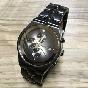 Fossil Mens Watch Chronograph Quartz Black FS 4157